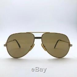 Auth Cartier 59 14 Unisexe Plaqué Or 18 Carats Santos Vendôme Pilot Vintage Sunglass
