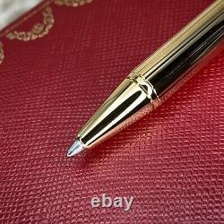 Authentic Santos De Cartier Stylo Bille 18k Or Plaqué Godron Avec Boîtier (nouveau)