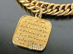 Authentique Bracelet Vintage Chanel CC Icon Logo Goldtone 5 Plaqué De Bracelet À Breloques 2 8