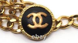 Authentique Chanel Vintage Plaqué Or CC Logo Leo Medallion Triple Chain