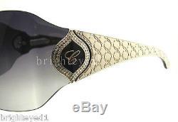 Authentique Chopard 23kt Plaqué Or Blanc Bouclier Lunettes De Soleil Sch 883s 579 Nouveau