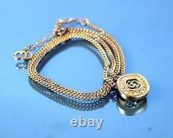 Authentique Christian Dior CD Logo Gold Tone Chain Necklace Stone Pendentif 6 Gm