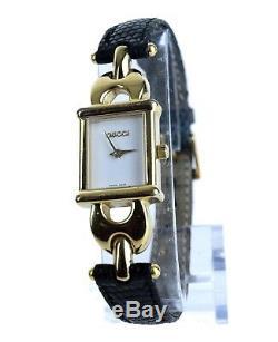 Authentique Montre-bracelet À Quartz Gucci Vintage 1800l En Cuir Noir Et Cuir Doré