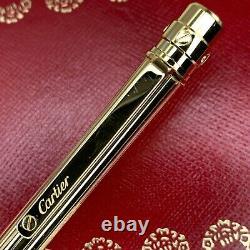 Authentique Santos De Cartier Ballpoint Pen Godron 18k Gold Plaqué Finish With Case