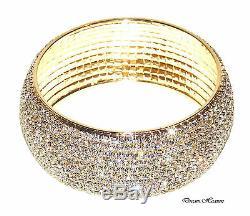 Belle 10 Cristal D'or Row Diamante Bangle Bracelet Diamonte