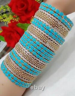 Bijoux Indien Cz Ad Bracelet Bangle Plaqué Or Bleu Set Bollywood Bangles