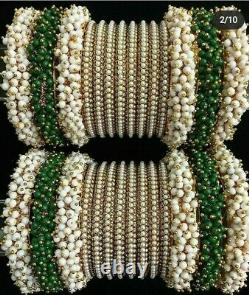 Bollywood Indien Nuptiale Style De Mariage Mains Bangles Set Or Plaqué Pearl Vert