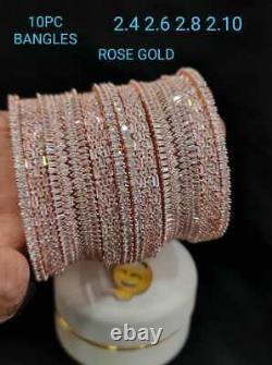 Bollywood Style Indien Cz Ad Jewelry Rose Gold Plaqué Bracelet Bangles Chuda Set