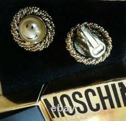 Boucles D'oreilles Moschino Bijoux Couture Rare Smiley Pearl Des Années 1980
