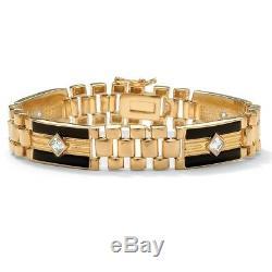 Bracelet À Maillons Panthère En Plaqué Or 14k, 1,48 Tcw Cz Onyx