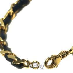 Bracelet Authentique Chanel CC Or Cuir Métal Plaqué Noir Coco Vintage Utilisé