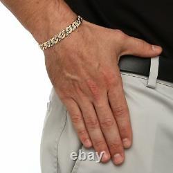 Bracelet Curb-link Diamond Accent Pour Homme 18k Plaqué Or 8,5