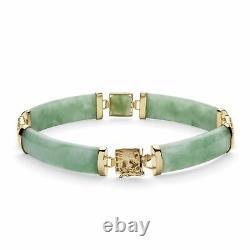 Bracelet De Lien En Argent Sterling Plaqué Or Vert Jade 7,25