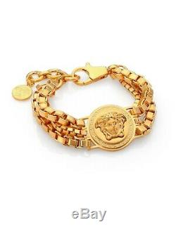 Bracelet Méduse En Métal Plaqué Or À Chaîne Triple Pour Hommes New Versace