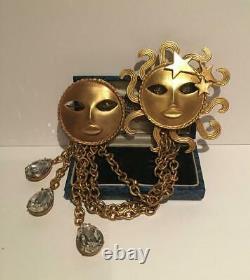 Broche Sun Vintage, Bijoux Joseff, Soleil D'or, Lune, Bijoux Constellation