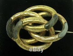 C1890 Collection Victorian Gilt Métal Écossais Amants Agate Noeud Broche