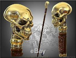 Canne Crâne Bâton De Placage Argent Plaqué Or, Poignée Poignée Goth Halloween Hommes