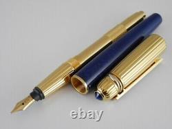Cartier Laque Bleu De Marbre De Pacha Et Stylo De Fontaine Plaqué Or B (excellent)