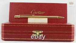 Cartier Op000060 Santos Vertical Godron Gold Plated Ball Point Pen Magnifique