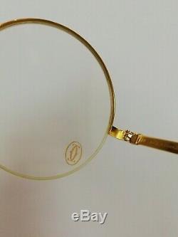 Cartier Paris Lentilles Rondes Moitié Plaqué Or 18k Cadre Monture Vintage Belles Lunettes