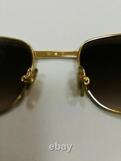 Cartier Paris Original Vintage 18k Gold Plated Lunettes De Soleil Modèle Santos France 56