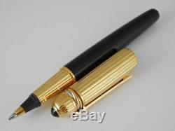 Cartier Pasha Laque Noire Et Or Plaqué Rollerball Pen Livraison Gratuite