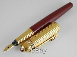Cartier Pasha Laque Rouge Et Plaqué Or Fountain Pen F (accessoire À Clip)