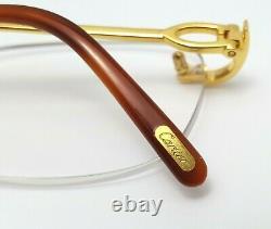 Cartier Rectangle Rimless Optique Unisexe Lunettes 18kt Jaune Or Plaqué