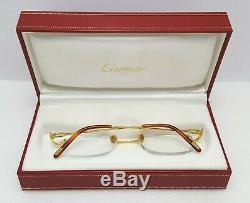 Cartier Rectangle Rimless Optique Unisexe Lunettes Lunettes 18kt Plaqué Or Jaune