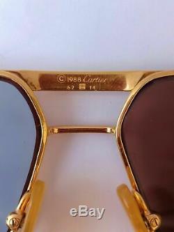 Cartier Vendome Or Lunettes De Soleil Rare 1983s Plaqué Louis Réservoir Platinum Fullset