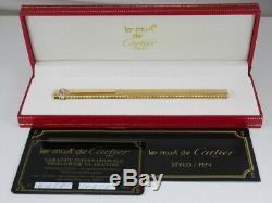 Cartier Vendôme Ovale Plaqué Or Grille Stylo À Bille Avec Boîte (excellent)