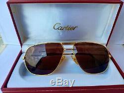 Cartier Vendome Rare Lunettes De Soleil D'or De 1983s Plaqué Louis Réservoir Platinum Fullset