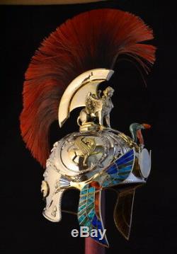 Casque Romain Légendaire, Entièrement Imprimé En 3d En Métal Et Résine, Plaqué Or
