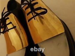 Celine Fashion Derby Black&white Plaque En Métal Or Dentelle Chaussures Femmes Taille 38