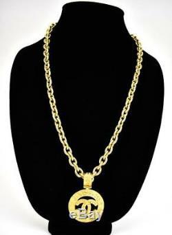 Chain & CC Chanel En Métal Plaqué Or Logo Médaillon Collier (mq)