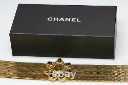 Chanel 1996 Maison Gripoix Camellia Glass Byzantine Style Gold Plated Metal Belt