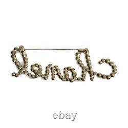 Chanel B20 Logo Broche Plaqué Strass Fashion Pearl Gold CC Coco