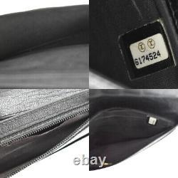 Chanel CC Logo Bifold Wallet Purse Cuir Plaqué Or Noir France 09bt593