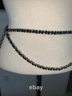 Chanel Chain Belt Double Gold Plate Leather CC Logo Charm Authentic Vintage 1994