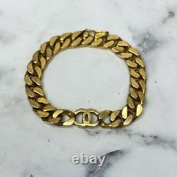 Chanel Iconic Vintage 1979 Logo Doré CC Curb Chaîne Bracelet 7 Max