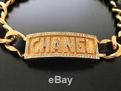Chanel Vintage, Plaqué Or 18k, Strass En Cuir Et Métal, Collier Ras Du Cou