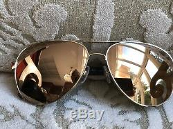 Chanel18ct Plaqué Or Mirrored Lunettes De Soleil Aviateur Pilot 4207 C. 395 / T6 Nouveau 595 $