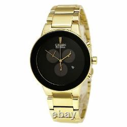 Citizen At2242-55e Homme Axiom Eco-drive Black Dial Gold Plaqué Steel Bracelet C