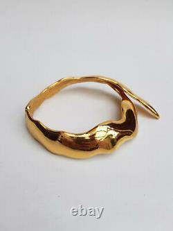 Collier Ysl. Yves Saint Laurent Rive Gauche Vintage Fuego Gold Tone Rigid Choke