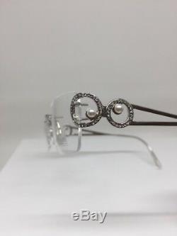 Daniel Swarovski En Cristal Sans Monture Monture De Lunettes Perles S220 23 Kt Plaqué Or Gp
