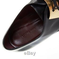 Défilé Celine Phoebe Philo Chaussures Richelieu Eu39.5 En Cuir Doré Avec Plaque En Métal Noir