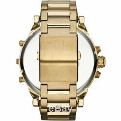 Diesel Mens Dz7333 Daddy 2.0 Cadran Noir Métal Or Bracelet Montre-bracelet Chronographe