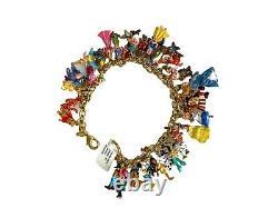 Disney 37 Bracelet De Charme De Caractère En 24ct Plaque D'or