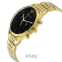 Emporio Armani Ar1893 Or / Noir Hommes Or Pvd Plated Watch New With Tags
