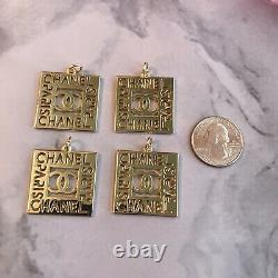 Ensemble De 4 Chanel CC Paris Square Zipper Pull 27.8mm Métal Gold Plated